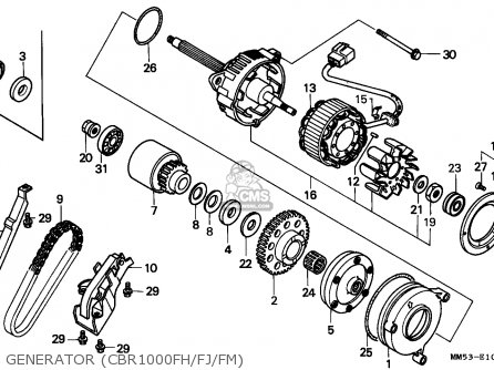 Honda Cbr1000f Hurricane1000 1987 (h) Canada parts list