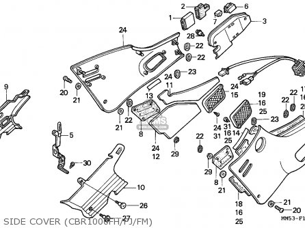 Honda Cbr1000f Hurricane1000 1987 (h) Italy parts list