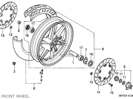 Honda Cbr600f Hurricane 1991 (m) England / Kph parts list