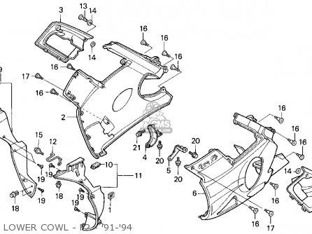 Honda Cbr600f2 Supersport 1992 (n) Usa parts list