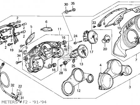 Honda Cbr600f2 Supersport 1994 (r) Usa parts list