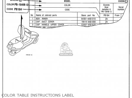 Honda Ch250 Elite 250 1990 (l) Usa parts list partsmanual