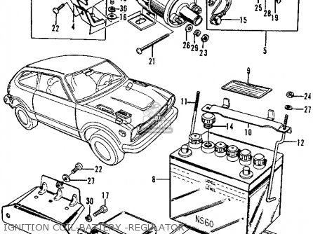 Honda CIVIC 1973 2DR1200 (KA) parts lists and schematics