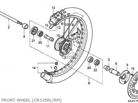 Honda Cr125r 1990 (l) Sweden parts list partsmanual partsfiche