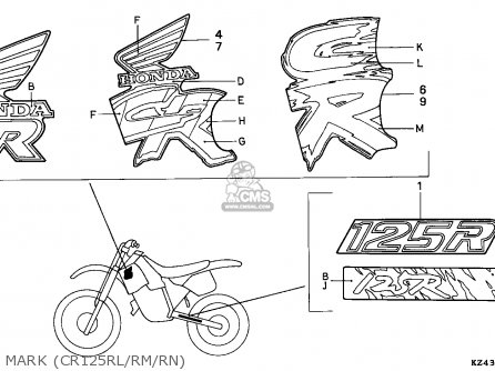 Honda CR125R 1991 (M) GERMANY parts lists and schematics