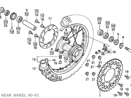 Honda CR125R 1991 (M) USA parts lists and schematics