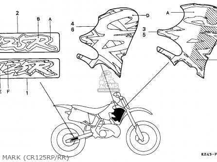Honda Cr125r 1993 (p) Australia parts list partsmanual