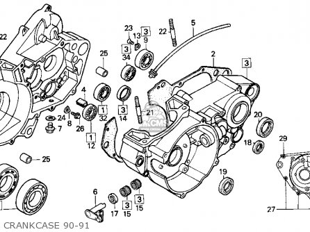 Honda Cr250r 1990 Usa parts list partsmanual partsfiche