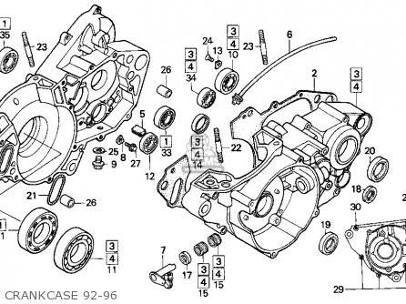 Honda Cr250r 1993 Usa parts list partsmanual partsfiche