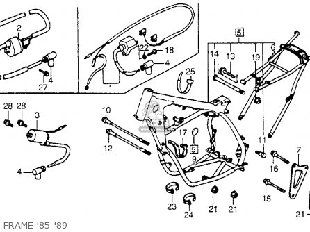 Honda CR250R ELSINORE 1985 (F) USA parts lists and schematics