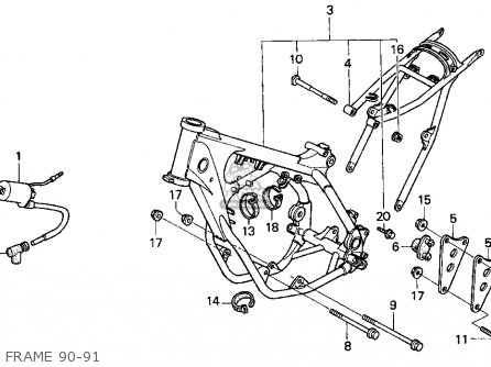 Honda CR250R ELSINORE 1990 (L) USA parts lists and schematics