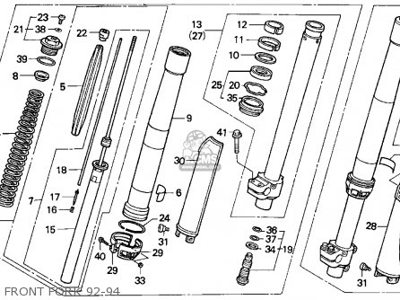 Honda CR250R ELSINORE 1993 (P) USA parts lists and schematics