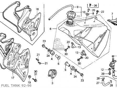 Honda CR250R ELSINORE 1993 (P) USA parts lists and schematics