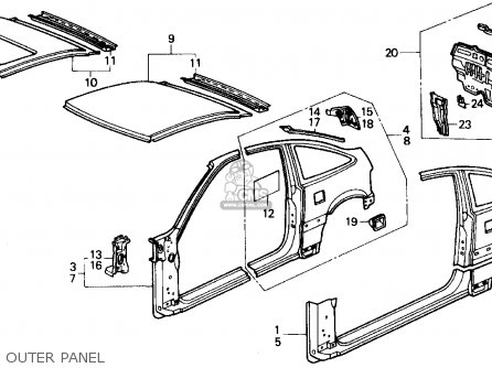 Honda Crx 1989 2dr Dx (ka,kl) parts list partsmanual