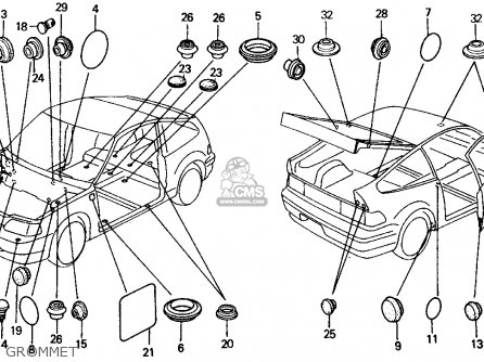 Honda CRX 1989 (K) 2DR DX (KA,KL) parts lists and schematics