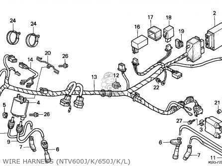 Honda Ntv600 Revere 1989 (k) England parts list