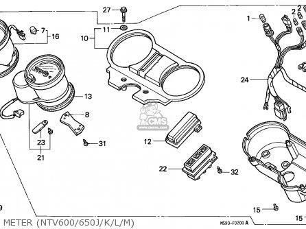 Honda Ntv650 Revere 1991 (m) Australia parts list