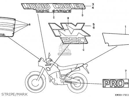 Honda NX250 DOMINATOR 1988 (J) FRANCE parts lists and