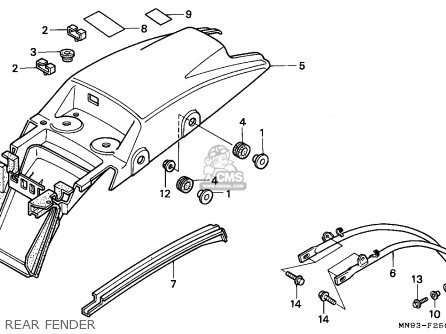 Honda Nx650 Dominator 1991 (m) England / Mkh parts list