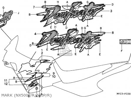 Honda Nx650 Dominator 1994 England / Kph parts list