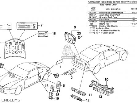 Honda Prelude 1993 2dr Si 4ws (ka,kl) parts list