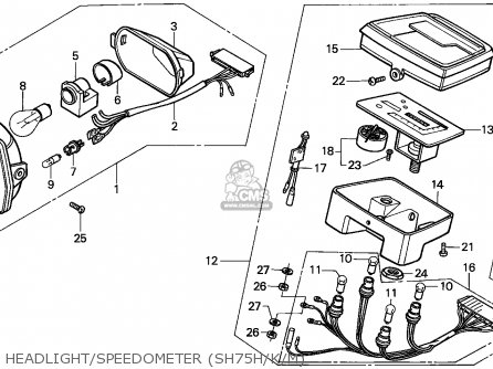 Honda SH75 SCOOPY 1989 (K) SPAIN parts lists and schematics