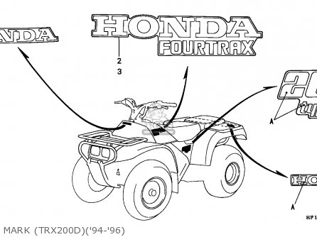 Honda TRX200 FOURTRAX 1994 (R) USA parts lists and schematics