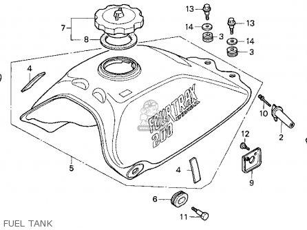 Honda Trx200 Fourtrax 200 1990 (l) Usa parts list