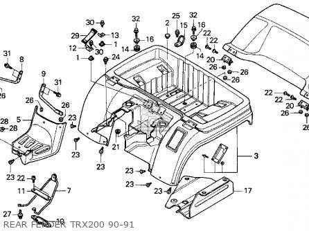 Honda TRX200 FOURTRAX 200 1990 (L) USA parts lists and