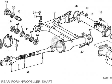 Honda Trx250 Fourtrax 1986 England parts list partsmanual