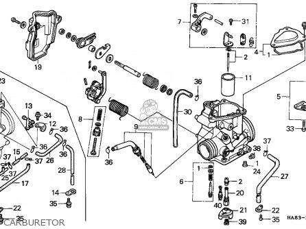 Honda Trx250 Fourtrax 1987 England parts list partsmanual