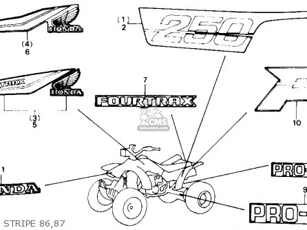 Honda Trx250r Fourtrax 250r 1987 Usa parts list