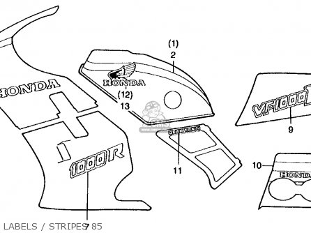Honda Vf1000r 1985 (f) Usa California parts list