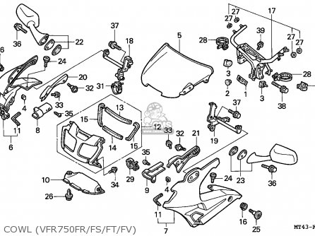 Honda Vfr750f 1996 (t) England parts list partsmanual
