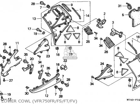 Honda VFR750F 1996 (T) ENGLAND parts lists and schematics