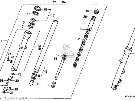 Honda Xbr500 1987 (h) European Direct Sales parts list