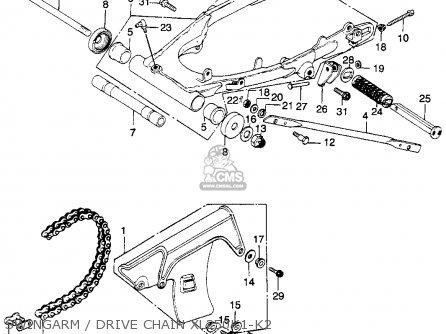 Honda Xl250 Motosport K2 1975 Usa parts list partsmanual