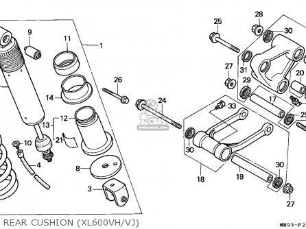 Honda Xl600v Transalp 1988 (j) England parts list