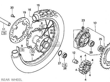 Honda XR250L 1994 (R) USA parts lists and schematics