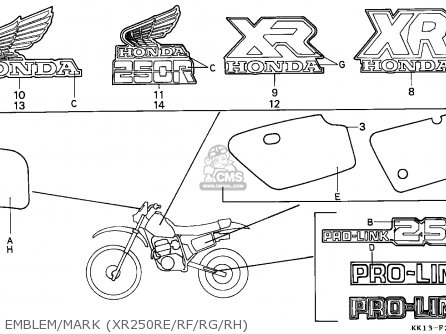 Honda Xr250r 1984 Australia parts list partsmanual partsfiche