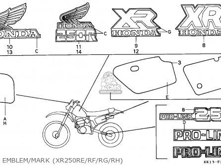 Honda Xr250r 1987 Australia parts list partsmanual partsfiche