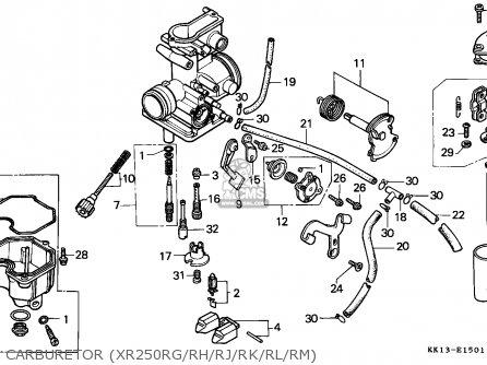 Honda XR250R 1987 (H) CANADA / CMF parts lists and schematics