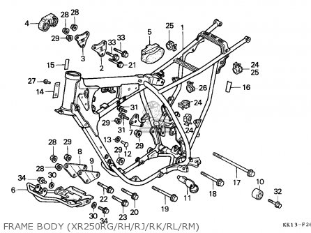 Honda Xr250r 1988 (j) Australia parts list partsmanual