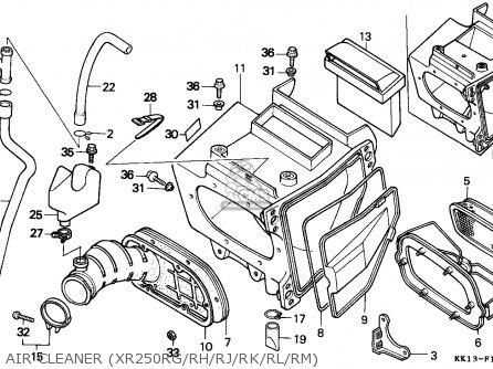 Honda XR250R 1990 (L) GENERAL EXPORT / KPH parts lists and