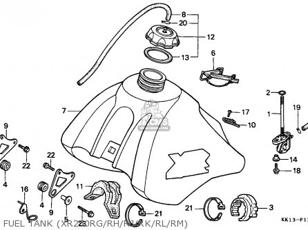 Honda Xr250r 1991 (m) Australia parts list partsmanual