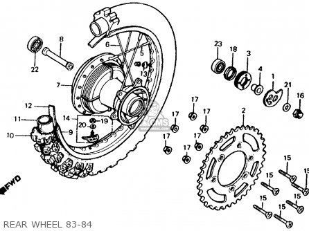 Honda Xr500r 1983 (d) Usa parts list partsmanual partsfiche