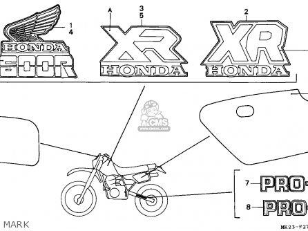 Honda XR600R 1986 (G) CANADA parts lists and schematics