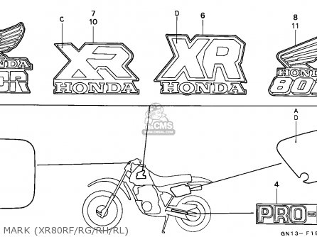 Honda Xr80r 1985 (f) Canada parts list partsmanual partsfiche