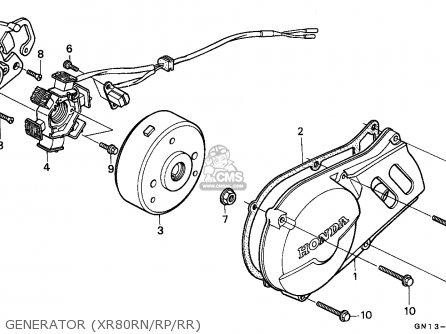 Honda Xr80r 1993 (p) Mexico parts list partsmanual partsfiche