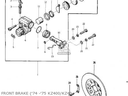 Kawasaki 1974 Kz400 parts list partsmanual partsfiche